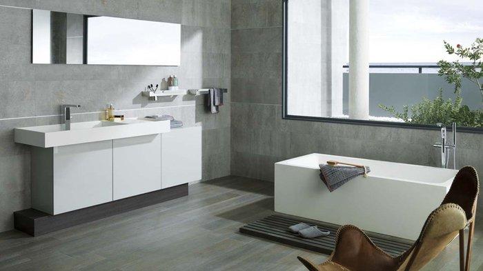 Carrelage salle de bain ton gris - Idée de maison et déco