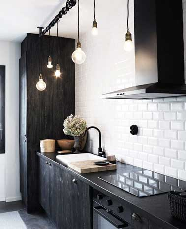 Carrelage cuisine noir mat