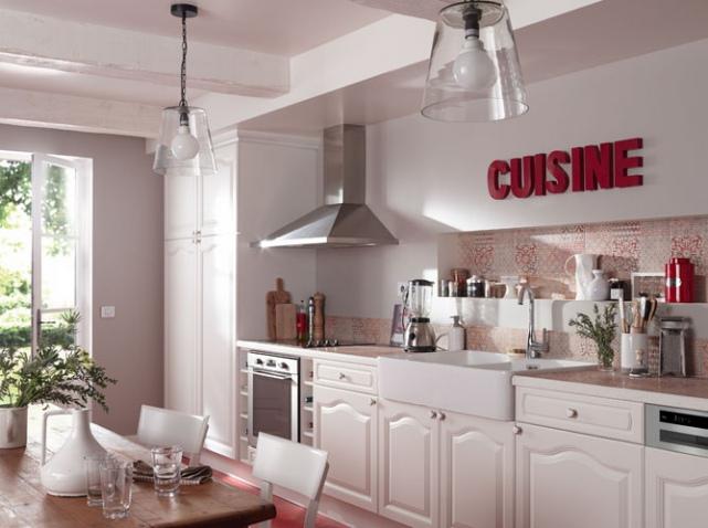 Carrelage cuisine rose