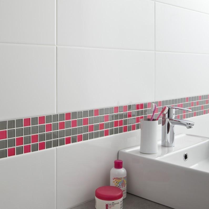 Carrelage salle de bain rectangulaire blanc - Idée de maison et déco
