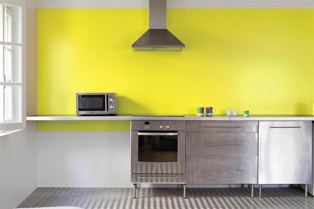 Carrelage mural cuisine jaune