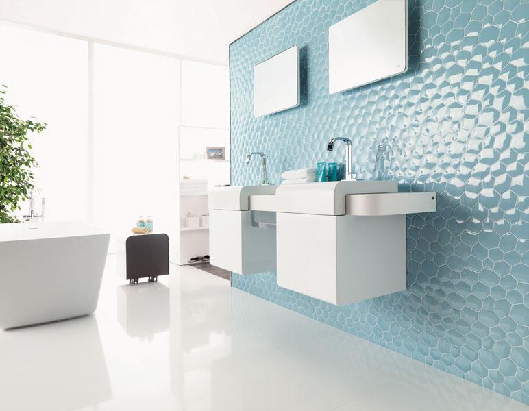 Carrelage salle de bain en relief id e de maison et d co - Carrelage colore salle de bain ...