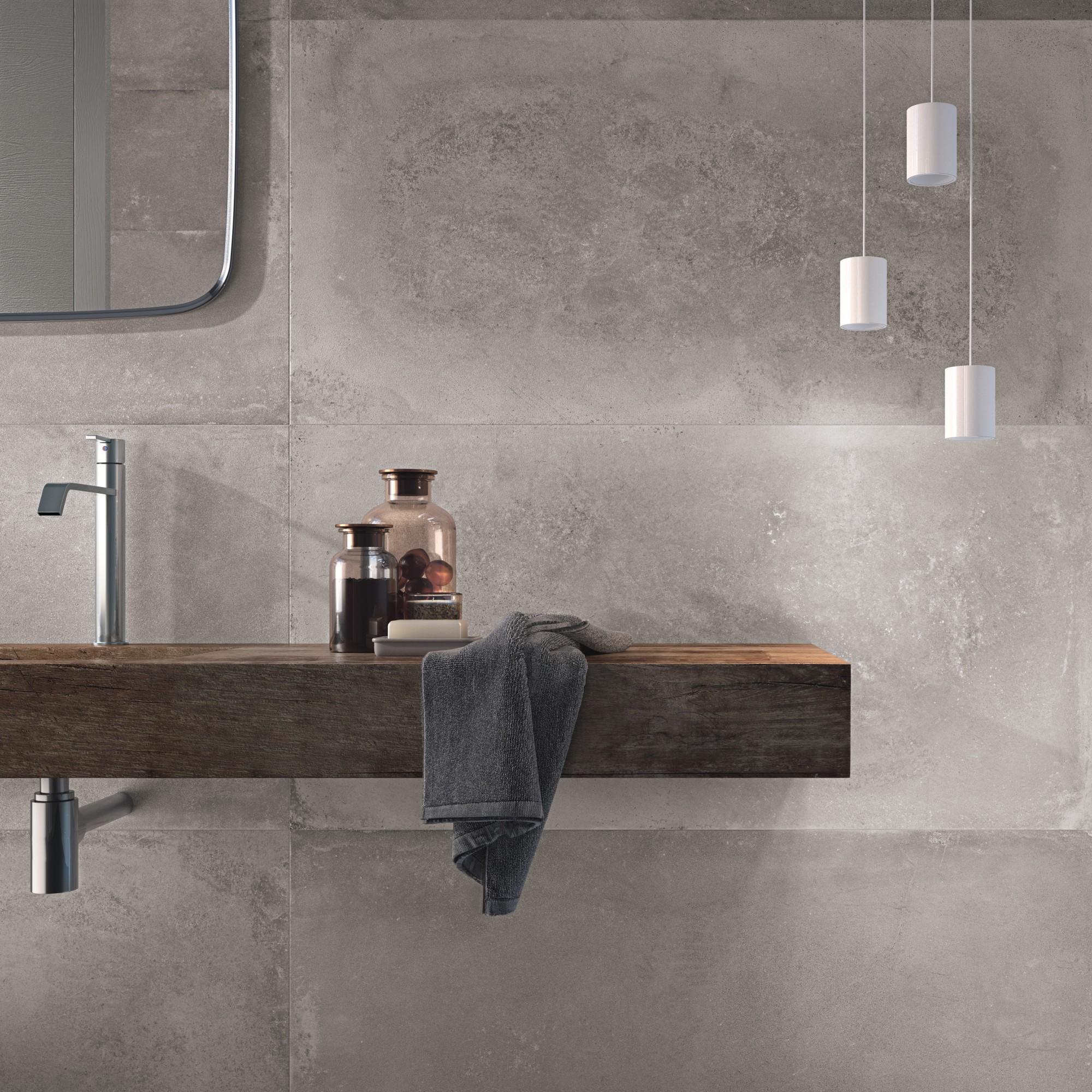 Carrelage salle de bain effet pierre
