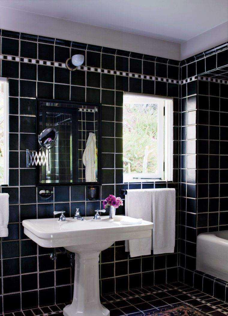 Carrelage salle de bain noir brillant id e de maison et d co - Carrelage noir brillant salle de bain ...