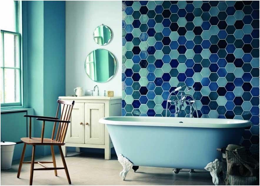 Carrelage hexagonal bleu