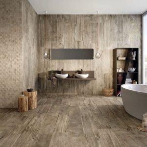 Carrelage imitation parquet gris salle de bain