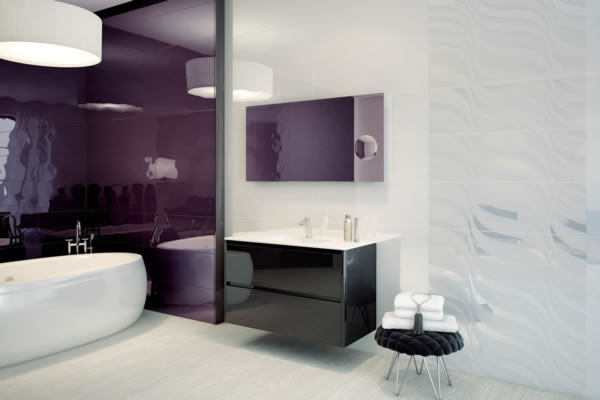 Carrelage salle de bain aubergine - Idée de maison et déco