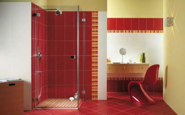 Carrelage salle de bain rouge et gris - Idée de maison et déco