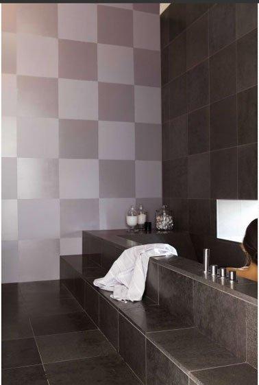 Carrelage salle de bain deux couleurs