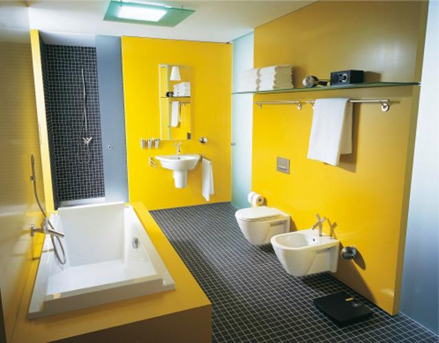 Carrelage jaune salle de bain
