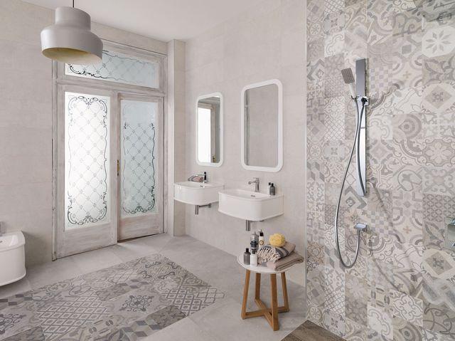 Carrelage salle de bain carreaux de ciment - Idée de maison et déco
