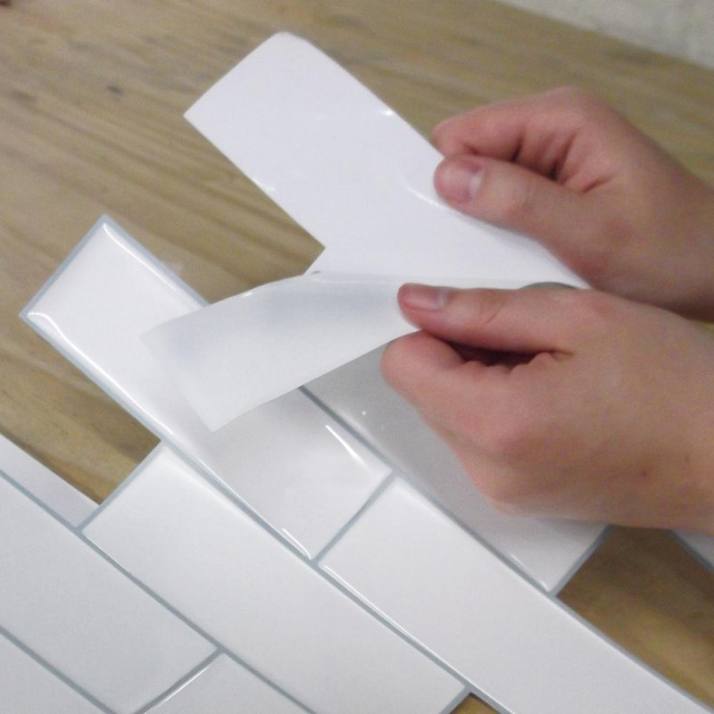 Carrelage adhesif blanc