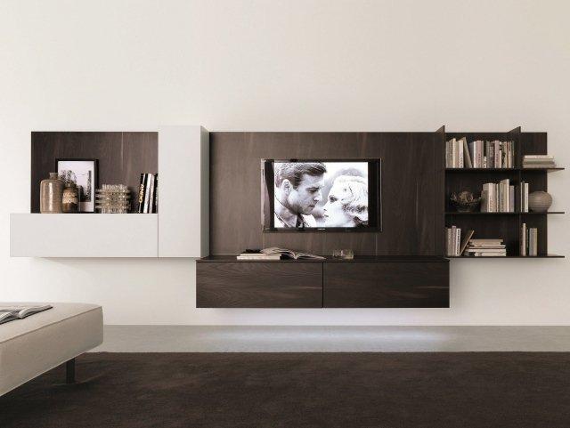 Meuble tv bois suspendu