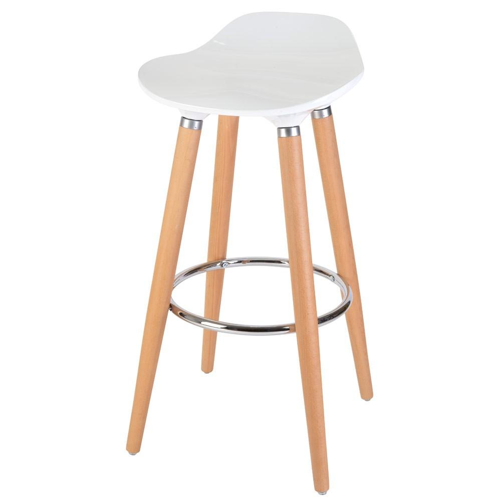 Chaise de bar blanc et bois