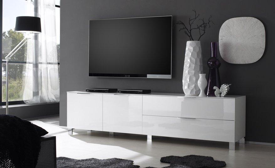 Meuble Tv Laque Blanc Et Bois Idee De Maison Et Deco