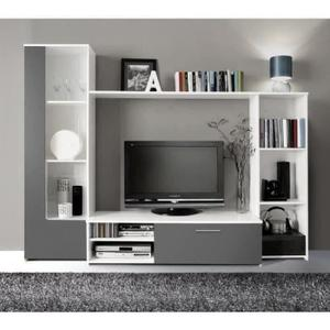 Meuble tv blanc et gris pas cher