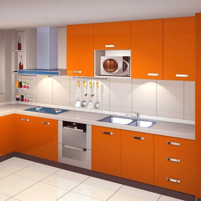 Meuble de cuisine orange