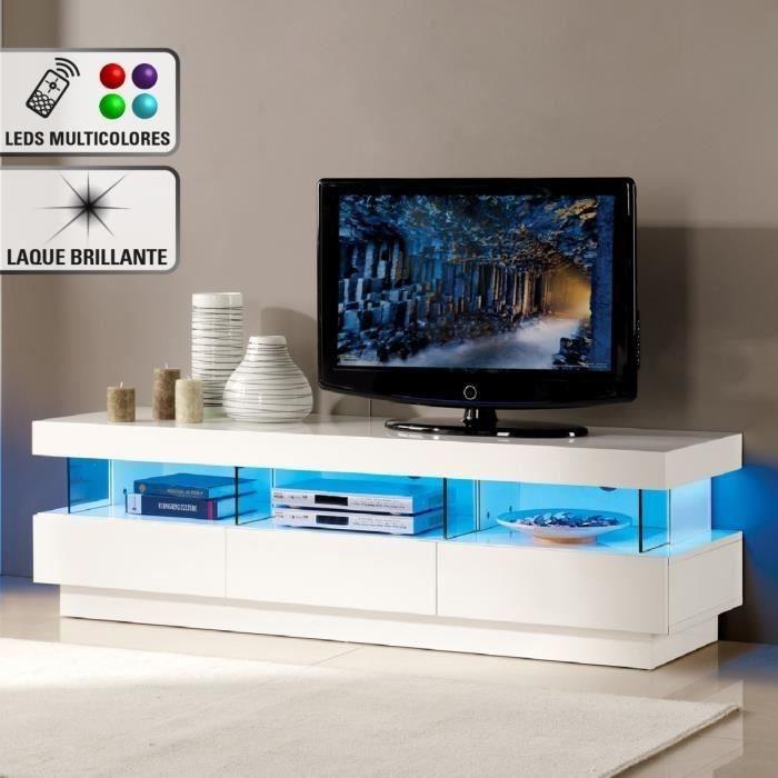 Meuble tv 4 tiroirs avec led multicolore