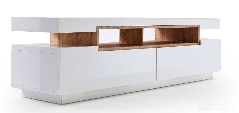 Meuble tv blanc plateau bois - Idée de maison et déco
