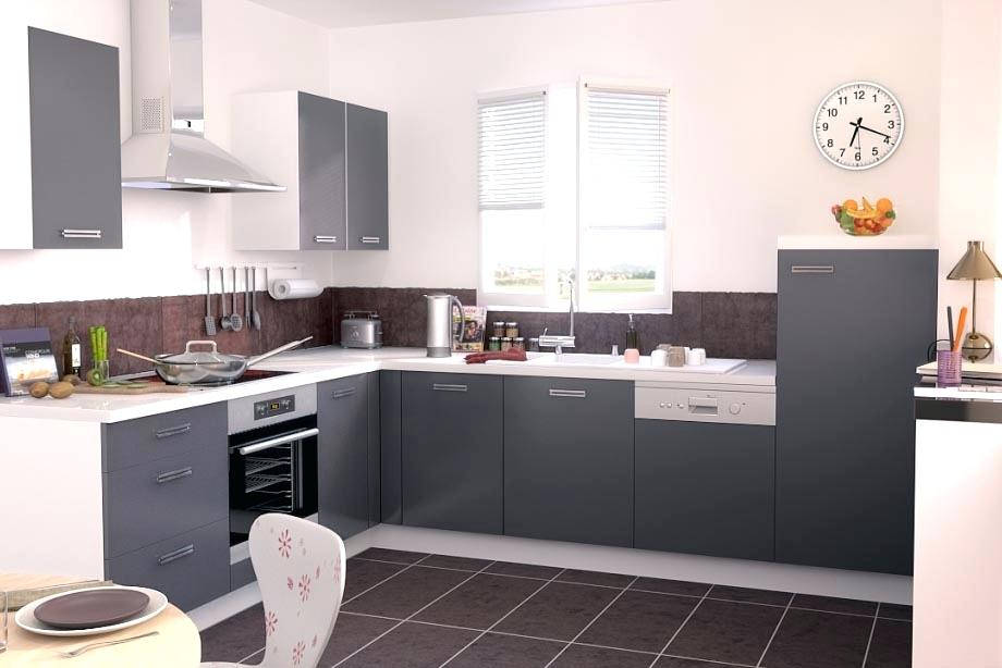 Meuble cuisine gris et blanc - Idée de maison et déco