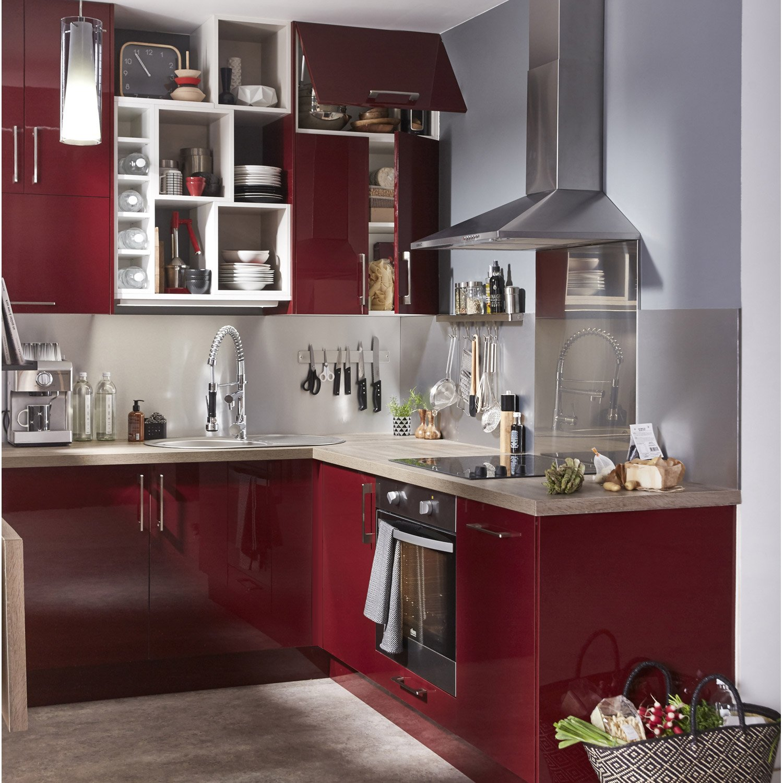 Armoire cuisine rouge