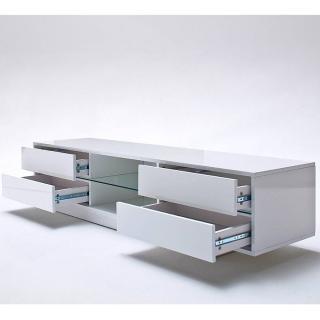 Meuble tv 4 tiroirs à éclairage led - blanc laqué