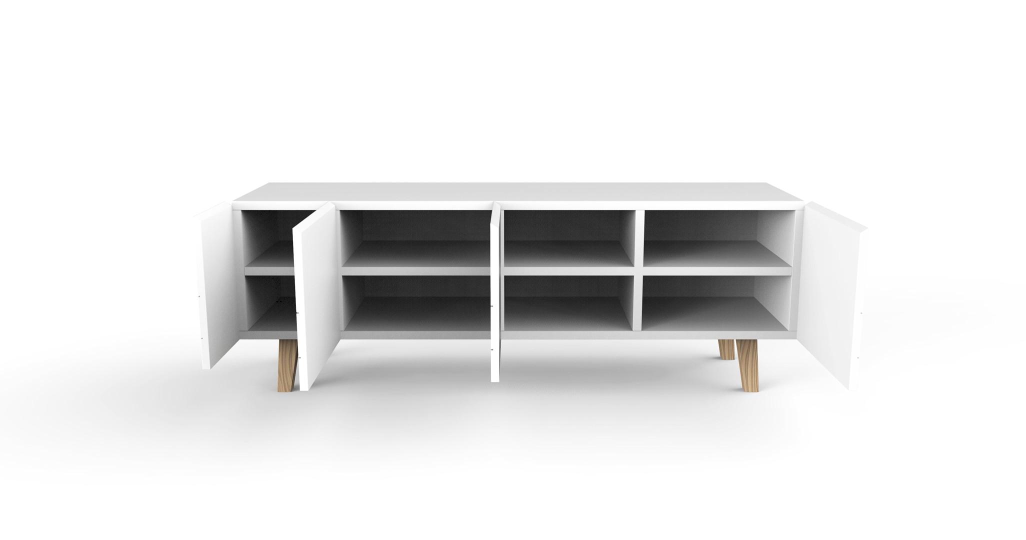 meuble-tv-design-4-portes-laqu_-blanc-bristol-ouvert Meilleur De De Meuble Tele En Bois Des Idées