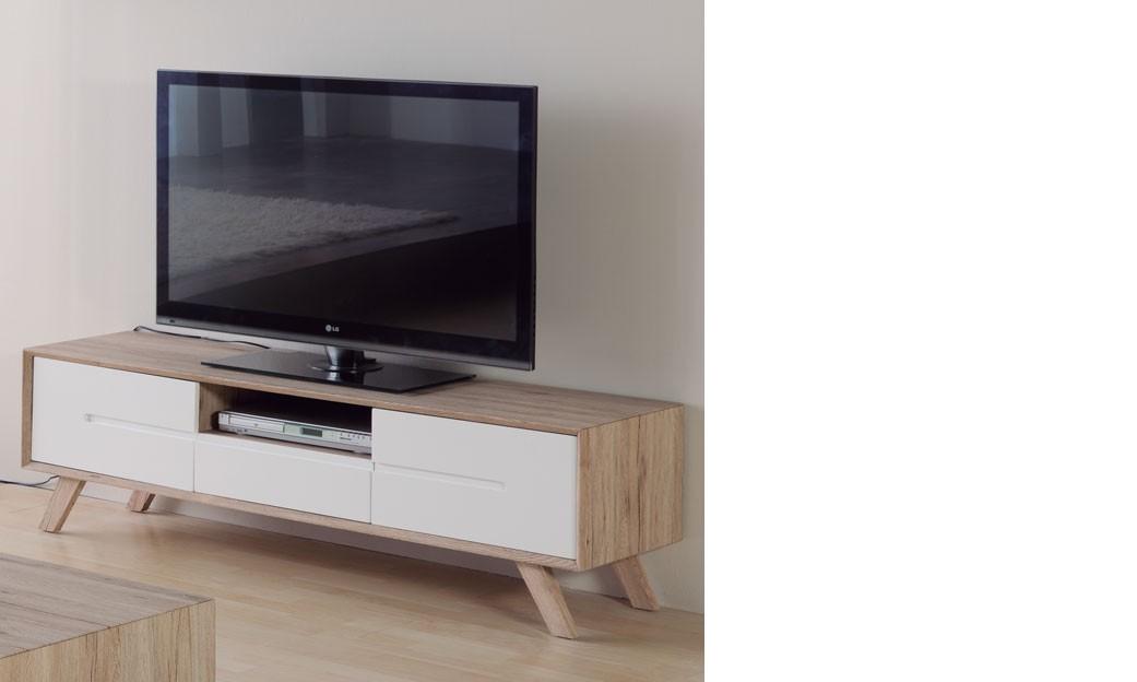 Meuble tv bois et blanc pas cher