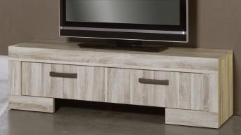Meuble tv 2 portes sydney - blanc laqué