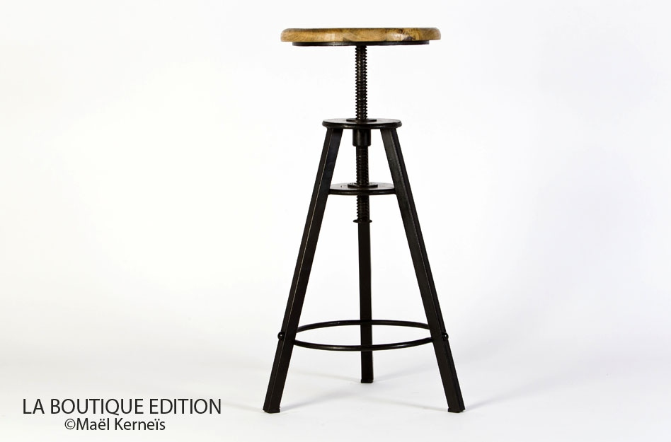 Tabouret de bar à vis en bois