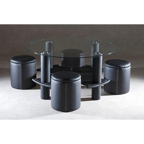 Table basse ronde wengé + 4 poufs