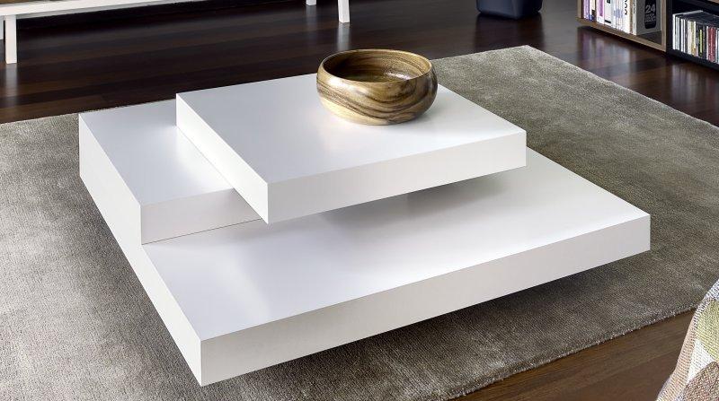 Table basse ronde à plateau rotatif laqué - aranel