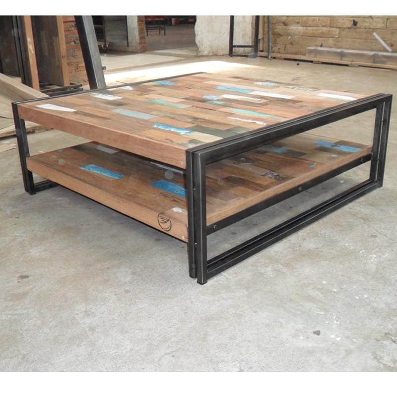 Table basse bois et fer pas cher