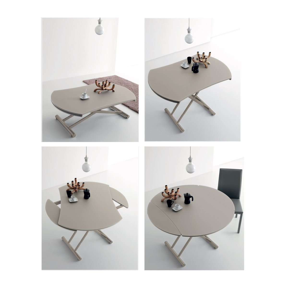 Table basse ronde relevable extensible