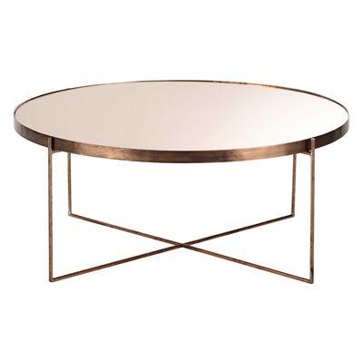 Table basse ronde miroir