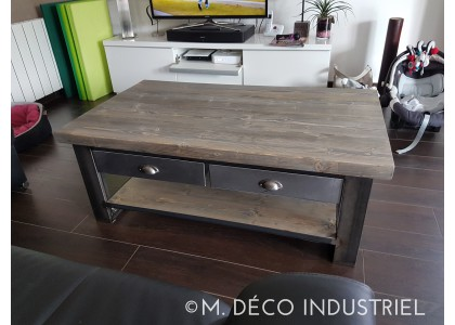 Table basse industrielle metal
