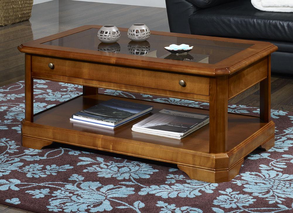 Table basse merisier avec marbre