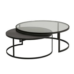 Table basse gigogne ronde noire
