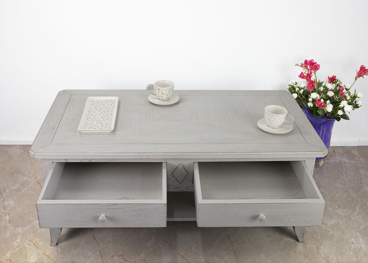 Table basse carrée patinée