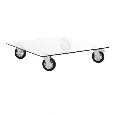 Table basse en verre à roulettes design