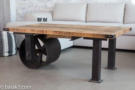 Table basse industrielle roue