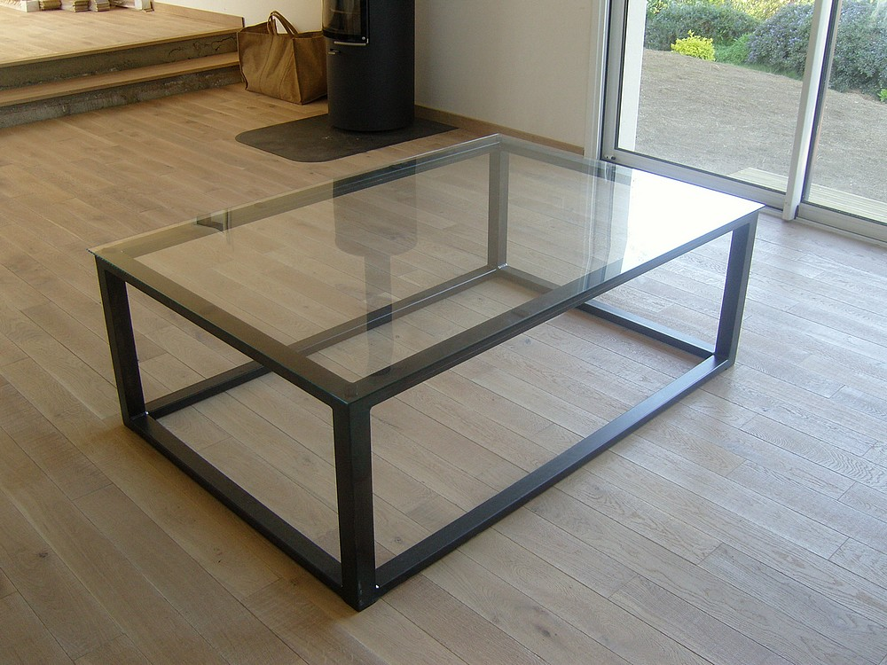 Table basse industrielle verre