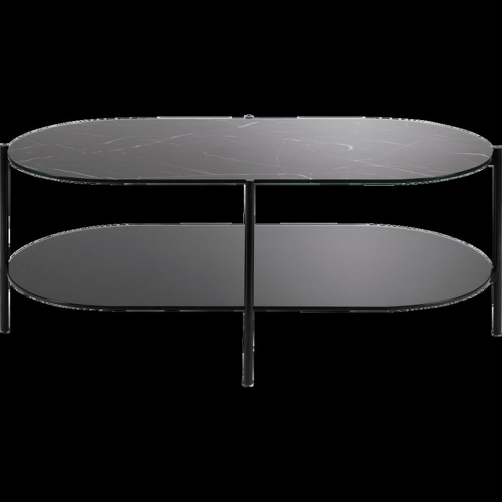 Table basse ovale marbre noir