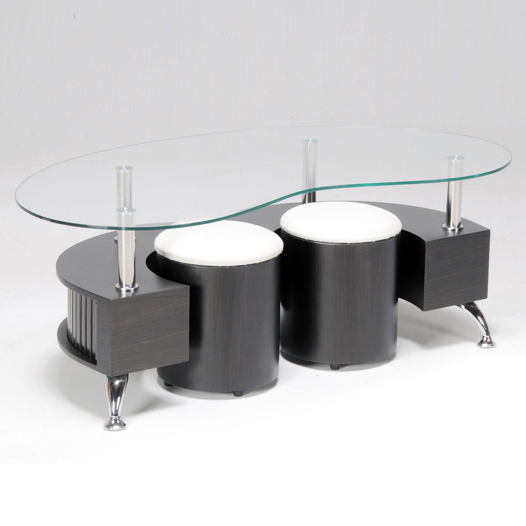 Table basse en verre avec pied en bois