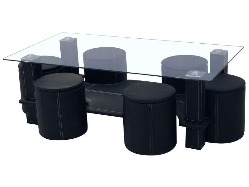 Table basse en verre avec tabourets