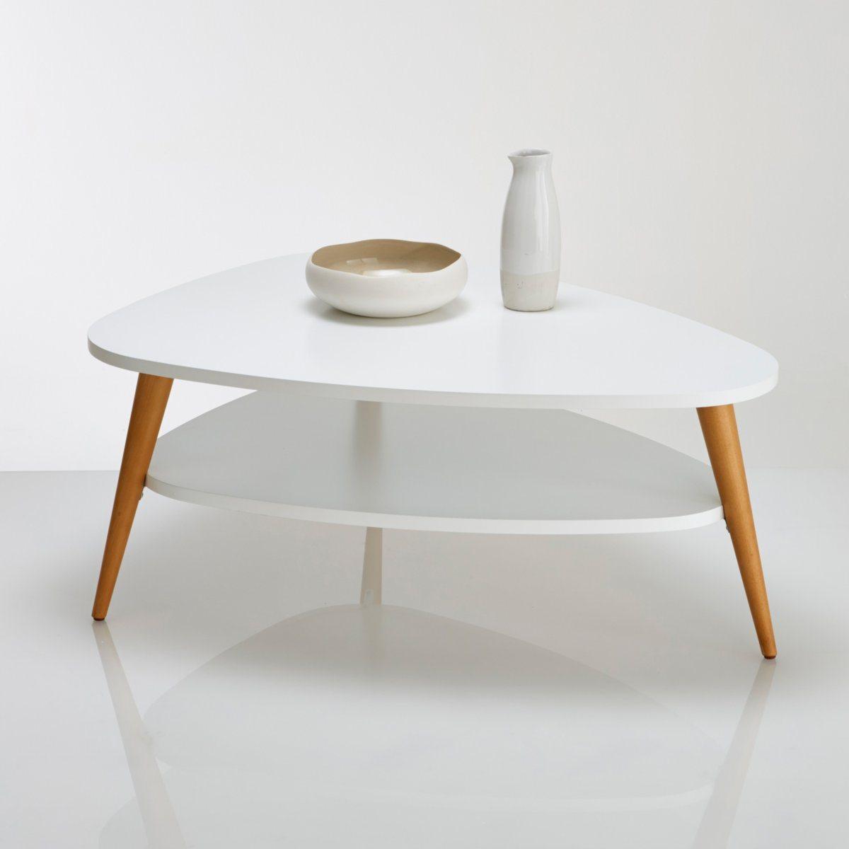 Table basse vintage blanc et bois