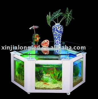 Grande table basse aquarium