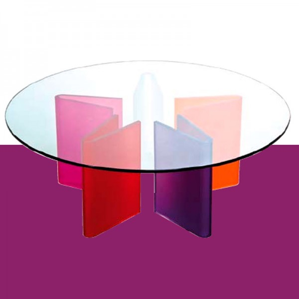 Table basse en verre multicolore