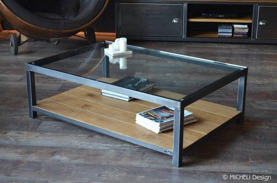 Table basse en verre style