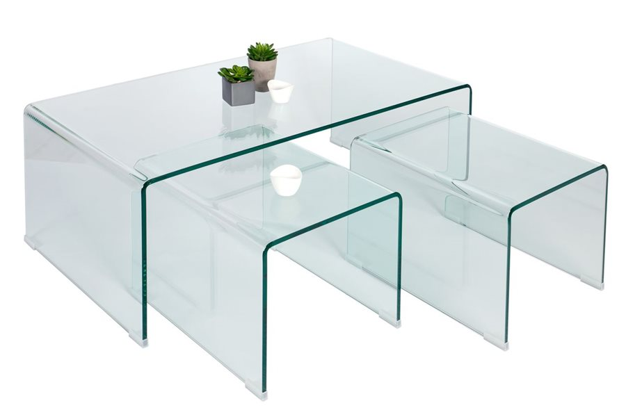 Table basse gigogne verre